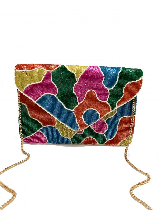 MULTI-COLORED TUBE BEADED CLUTCH