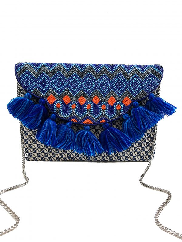 JACQUARD CLUTCH WITH BLUE TASSELS AND BEADING