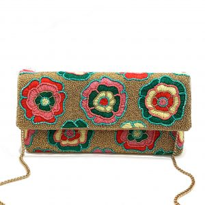 GOLD BEADED CLUTCH MULTI-COLORED FLORAL EMBROIDERY