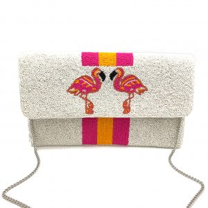 JAPANESE BEADED CLUTCH WITH FUCHSIA STRIPES AND FLAMINGOS