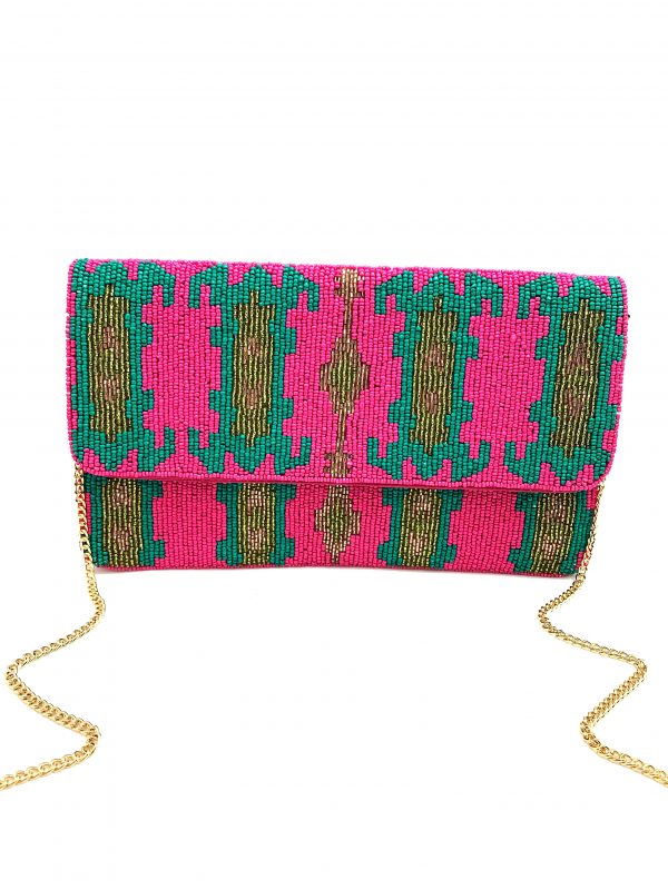 FUCHSIA AND GREEN BEADED CLUTCH