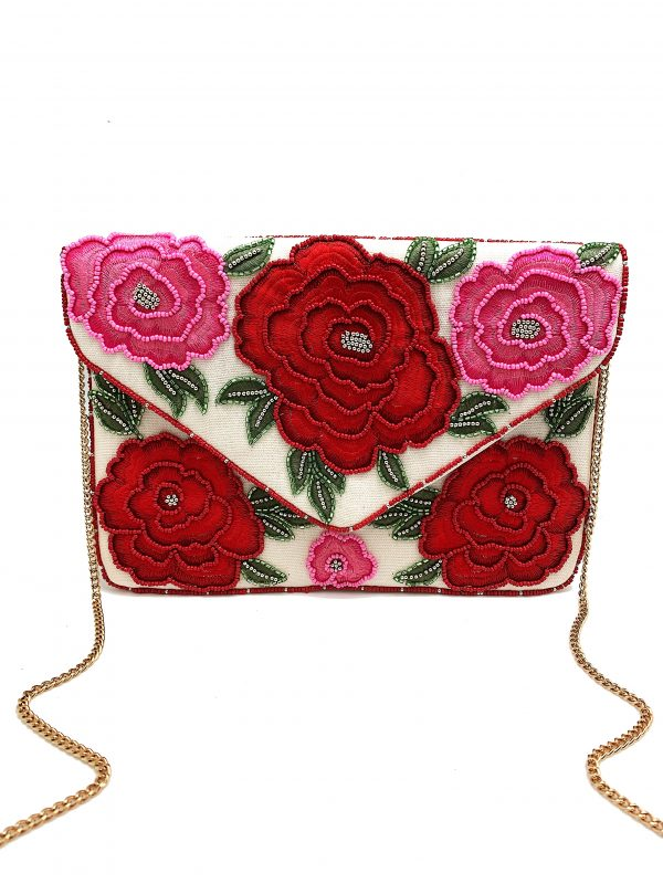 ENVELOPE CLUTCH WITH EMBROIDERED AND BEADED ROSES