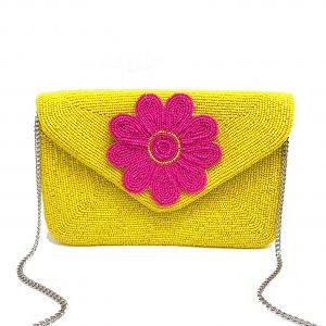 YELLOW AND PINK BEADED DAISY ENVELOPE CLUTCH