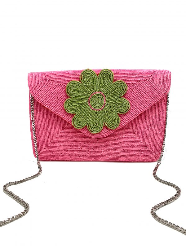 PINK AND GREEN BEADED DAISY ENVELOPE CLUTCH