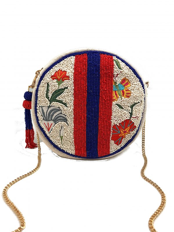 ROUND FLORAL CLUTCH WITH STRIPED BEADING