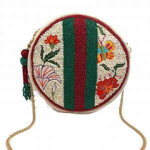 ROUND CLUTCH WITH FLORAL EMBROIDERY AND BEADED STRIPES