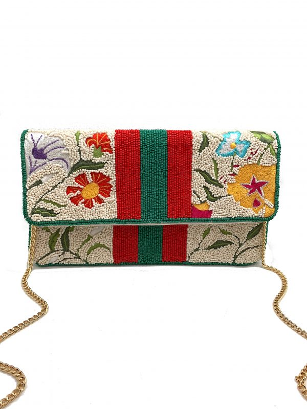 STRIPES AND FLORAL BEADED CLUTCH