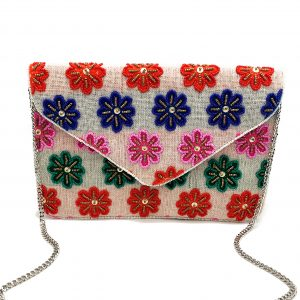 MULTI-COLORED EMBROIDERED AND BEADED FLORAL ENVELOPE CLUTCH