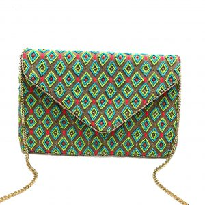 DIAMOND PATTERNED GREEN AND GOLD BEADED BAG