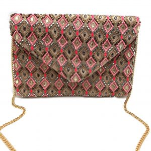DIAMOND PATTERNED PINK AND GOLD BEADED BAG