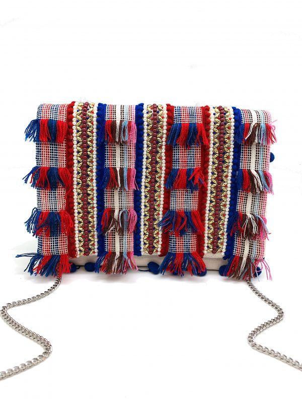 RED AND BLUE EMBROIDERY AND POMPOM CLUTCH WITH METALLIC BEADING