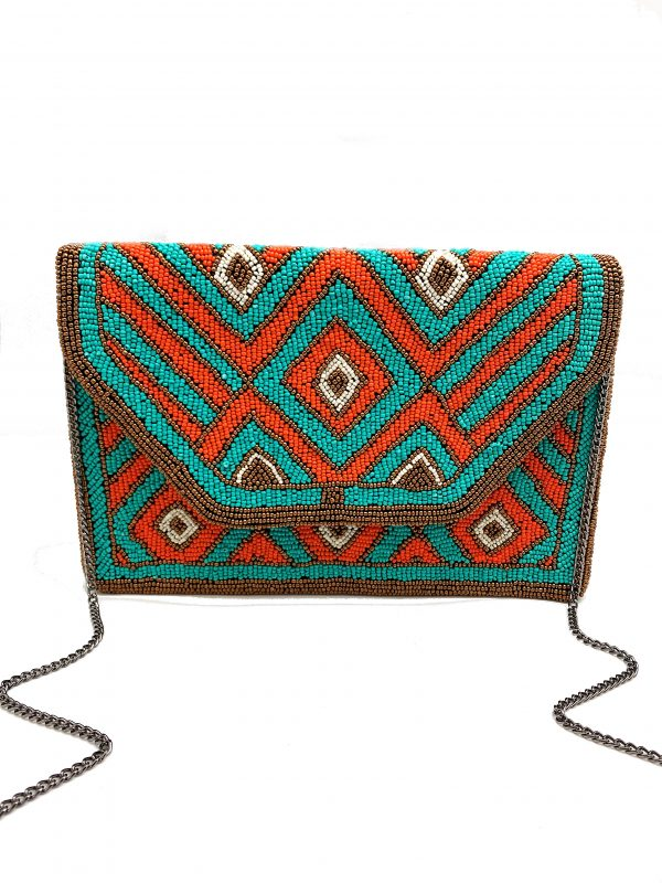 CORAL AND TURQUOISE BEADED CLUTCH