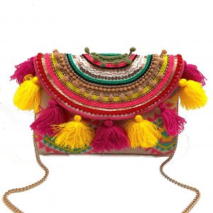BRIGHT PINK AND YELLOW TASSEL FUN CLUTCH