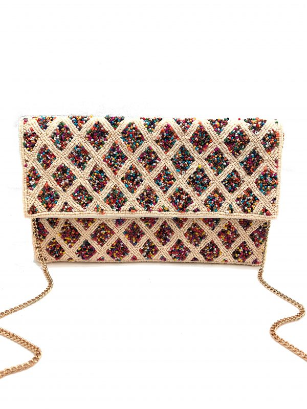 MULTI-COLORED BEADED CLUTCH WITH DIAMOND PATTERN