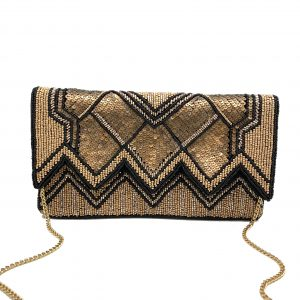 GOLD BEADED CLUTCH WITH ZIGZAG CUTOUT FLAP