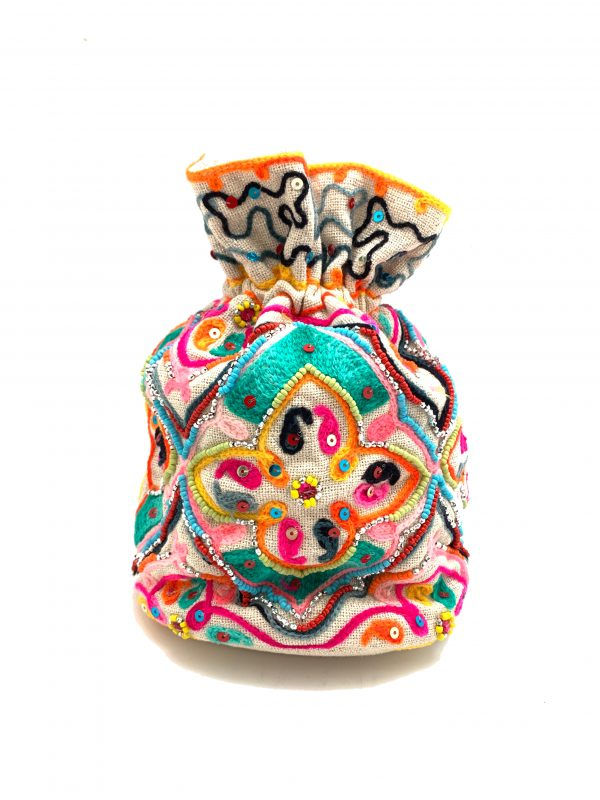 MULTI-COLORED BUCKET BAG WITH COLORFUL BEADING AND EMBROIDERY