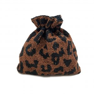 BEADED LEOPARD PRINT BUCKET BAG