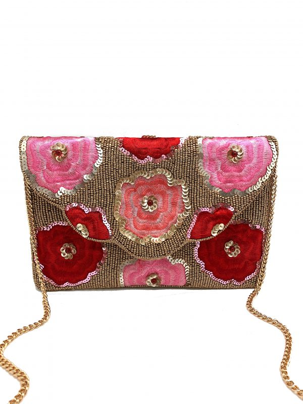 GOLD AND PINK BEADED FLORAL CLUTCH