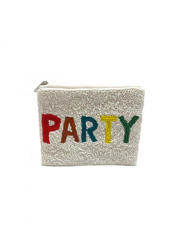 """PARTY"" CLUTCH WITH WHITE AND MULTI-COLORED BEADING"