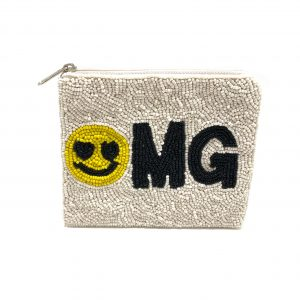 """OMG"" COIN PURSE WITH WHITE BEADING AND YELLOW SMILEY FACE"