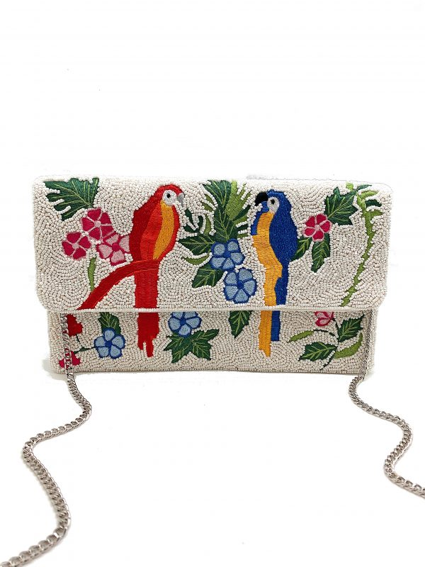 WHITE BEADED CLUTCH WITH MULTI-COLOR EMBROIDERED FLOWERS AND BIRDS