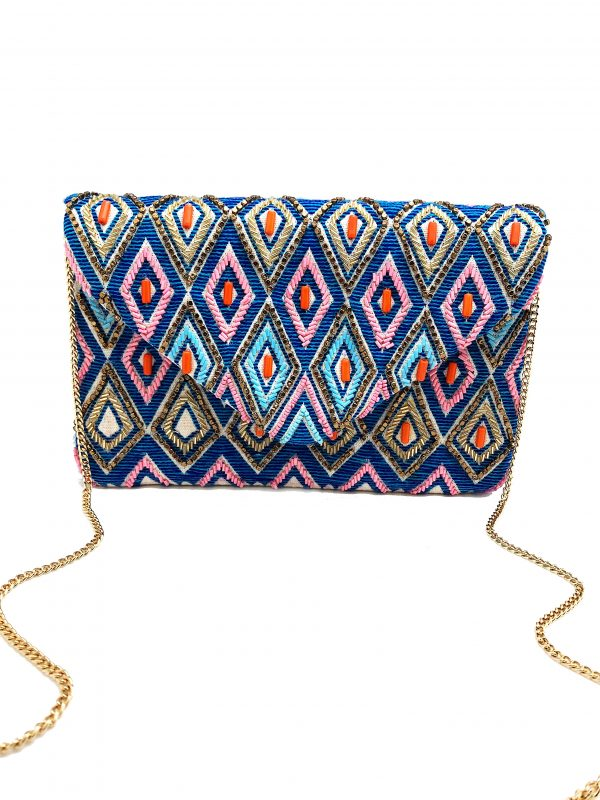 ENVELOPE CLUTCH WITH EMBROIDERED DIAMOND SHAPES AND MULTI-COLORED BEADING