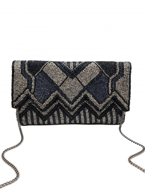 METALLIC BEADED CLUTCH WITH ZIGZAG CUTOUT FLAP