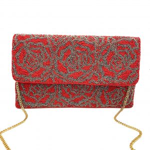 RED ROSE BEADED CLUTCH