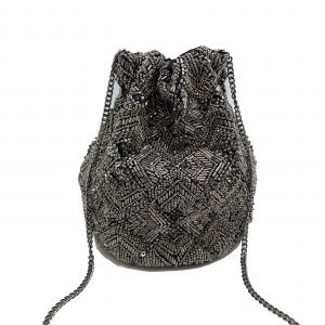 BEADED BUCKET BAG WITH SEQUINS AND TUBE BEADING