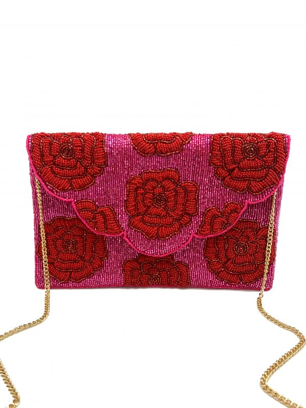 FUCHSIA BEADED CLUTCH WITH RED BEADED ROSES