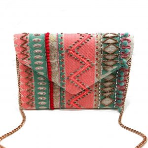 BEADED PASTEL CLUTCH WITH ZIGZAG PATTERN
