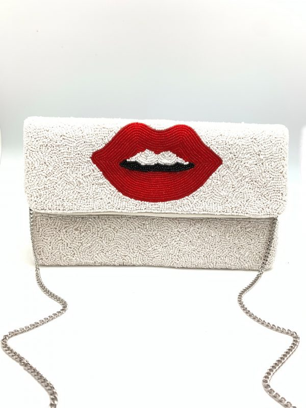 WHITE BEADED CLUTCH WITH RED LIPS