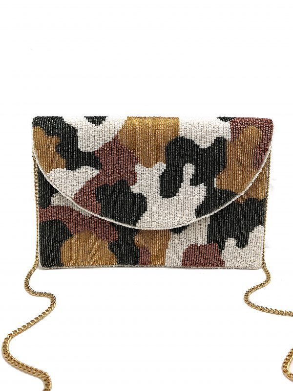 CREAM GOLD AND OLIVE CAMO CLUTCH