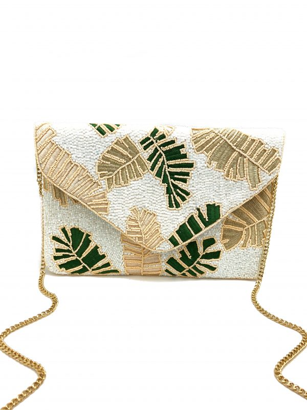 WHITE TUBE BEADED ENVELOPE CLUTCH WITH GREEN AND GOLD FLORAL EMBROIDERY