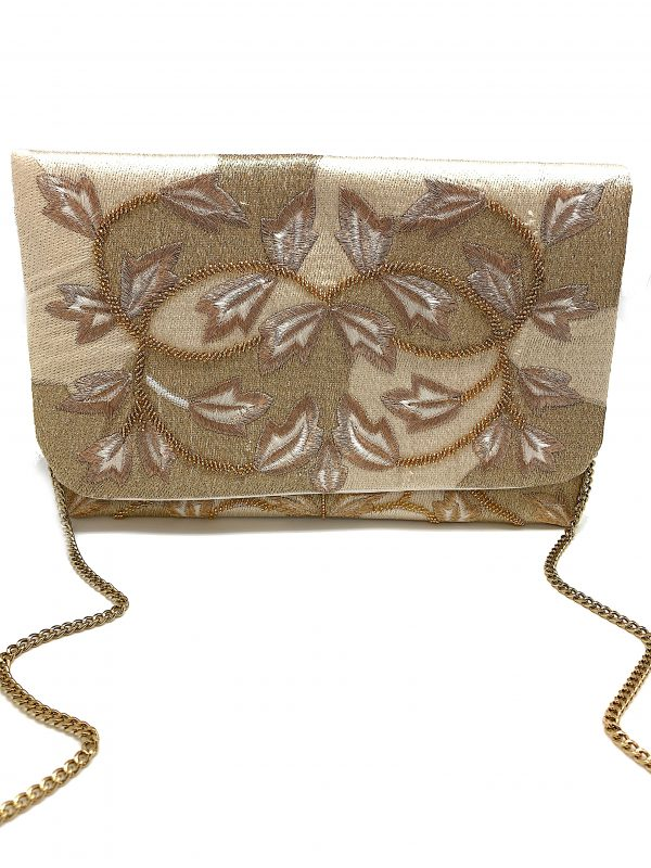 GOLD CLUTCH WITH GOLD BEADING AND TWO-TONE GOLD EMBROIDERY