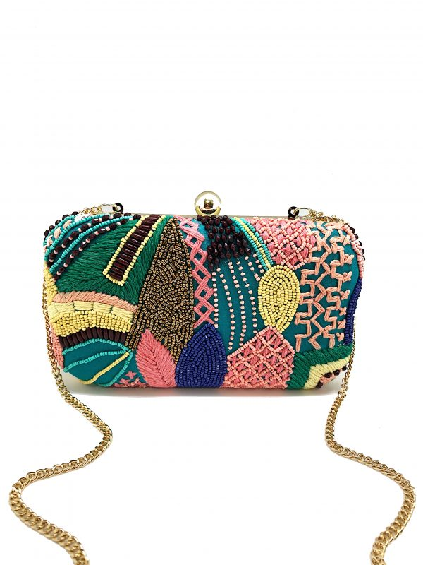HARD CLUTCH WITH MULTI-COLORED BEADING AND EMBROIDERY