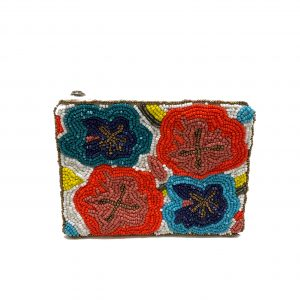WHITE COIN PURSE WITH MULTI-COLOR FLORAL BEADED DESIGN