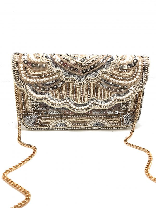 PEARL AND SEQUINS EMBELLISHED CLUTCH