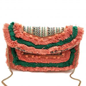 JACQUARD CLUTCH WITH CORAL AND GREEN POMPOMS, FRINGE, AND BEADING