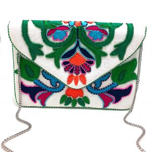 NEON CHAIN-STITCHED ENVELOPE CLUTCH WITH MULTI COLOR BEADING
