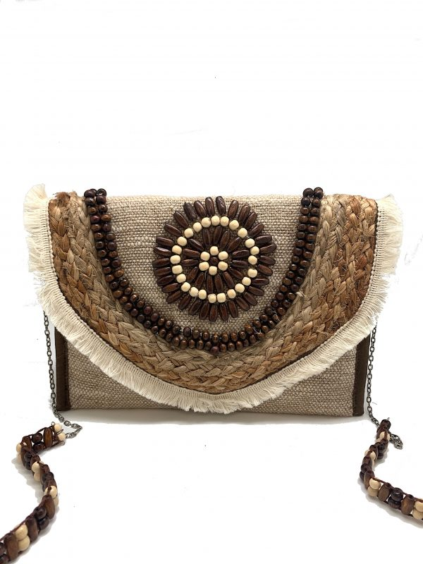 WOVEN ENVELOPE CLUTCH WITH JUTE EMBROIDERY AND WOODEN BEADING