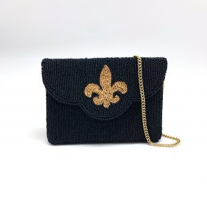 BLACK BEADED MINI CLUTCH WITH GOLD FLEUR DE LIS