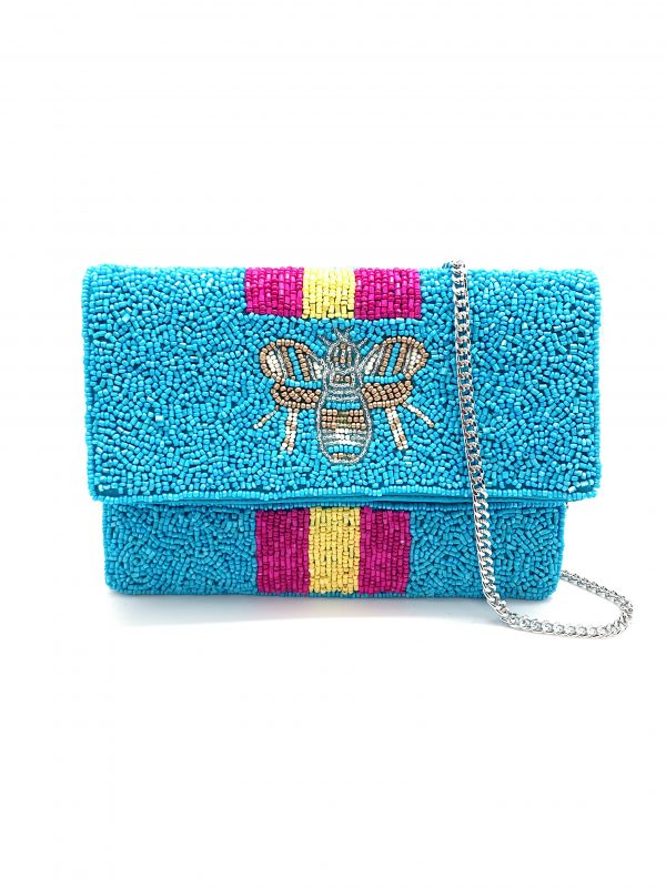 BLUE BEADED MINI CLUTCH WITH METALLIC BEE AND PURPLE AND YELLOW STRIPES