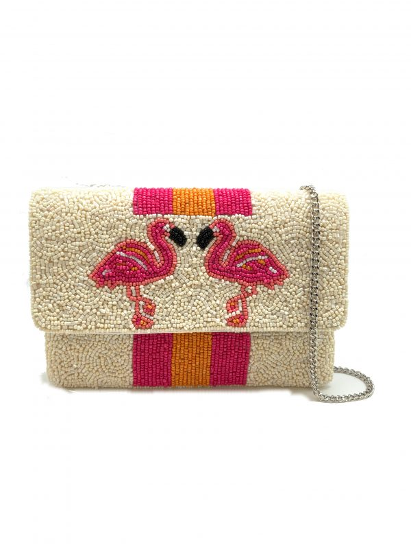 MINI BEADED CLUTCH WITH FLAMINGOS AND STRIPES