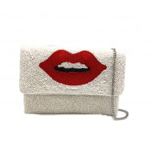 WHITE BEADED MINI CLUTCH WITH LIPS