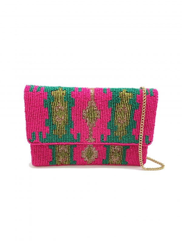BEADED FUCHSIA AND TWO-TONE GREEN MINI CLUTCH