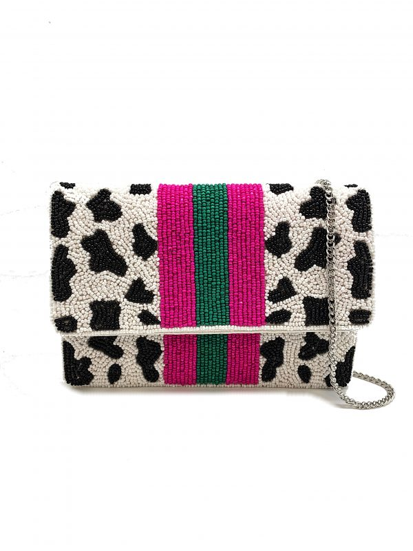 BEADED COW PRINT PATTERN MINI CLUTCH WITH PURPLE AND GREEN STRIPES