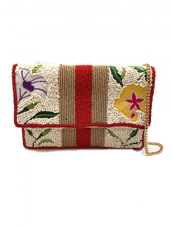 MINI CLUTCH WITH FLORAL EMBROIDERY AND STRIPED BEADING