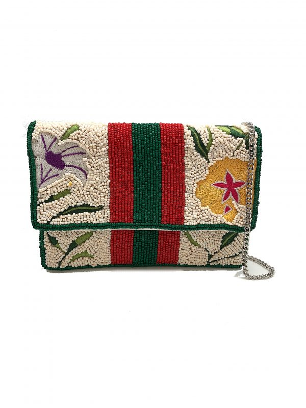 MINI CLUTCH WITH FLORAL EMBROIDERY AND BEADED STRIPES