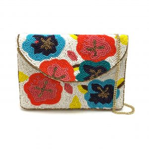BEADED MINI CLUTCH WITH MULTI-COLORED FLORAL PATTERNS